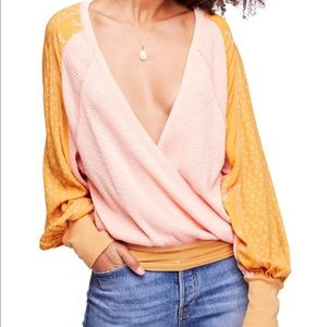 Free People Auxton Pink Yellow Wrap Style Thermal